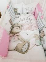 """Набор в кроватку """"Мишка девочка с буквами, Baby Girl"""""""