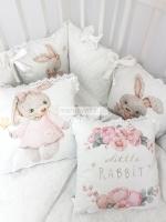 Набор в кроватку Зайка Принцесса ( Little Rabbit) в белом дамаске
